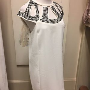 Xscape white dress with black studded detail